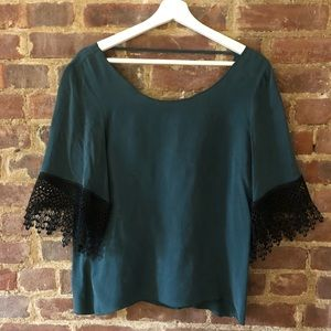 For Love & Lemons Green Blouse with Lace Detail